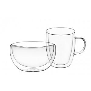 Набор: чашка с ручкой 270 мл. и пиала 500 мл. (все с двойными стенками)