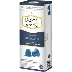 Кофе в капсулах Dolce Aroma Decaffeinato Delicato, 10 капсул Nespresso